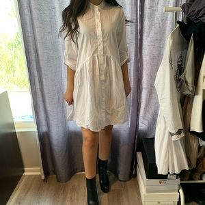 Zara white button down mini dress